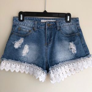 ASOS Denim Shorts with Lace Detail